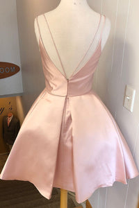 Simple V Neck Straps Short Pink Homecoming Dress Backless Satin Sweet 16 Dresses H1210
