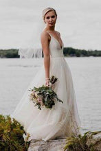 Load image into Gallery viewer, Simple V Neckline Spaghetti Strap Backless Ivory A Line Cheap Beach Wedding Dresses W1015