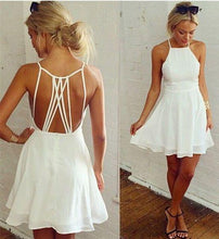 Load image into Gallery viewer, Simple White Spaghetti Straps Prom Dress Open Back Evening Dress Homecoming Dress H1081