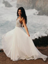 Load image into Gallery viewer, Spaghetti Strap Beaded Wedding Dress Ivory Chiffon V Neck Rustic Wedding Dresses RS478