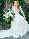 Spaghetti Strap Beaded Wedding Dress Ivory Chiffon V Neck Rustic Wedding Dresses RS478