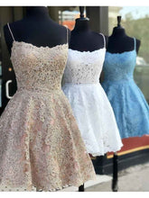 Load image into Gallery viewer, Spaghetti Strap Vintage Gold Lace Applique Criss Cross Short Homecoming Dresses RS765