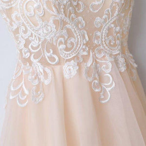 Spaghetti Straps V Neck Tulle With Appliques Prom Dresses Long Cheap Formal Dress RS507