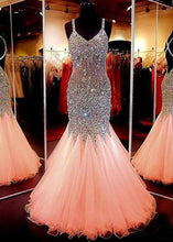 Load image into Gallery viewer, Beauty sweetheart neckline mermaid open back beading pageant formal dresses RS861