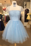 Sparkle Beaded Cap Sleeves Light Sky Blue Tulle Homecoming Dress Sweet 16 Dresses H1206