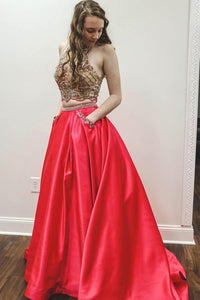 Sparkly Two Piece Beaded Satin Red High Neck Long Prom Dresses with Pockets RS742