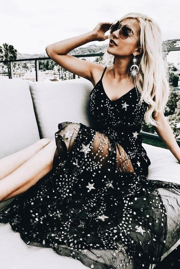 Sparkly V Neck Black Prom Dresses Spaghetti Straps A line Star Lace Long Party Dresses P1040