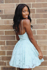 Straps A-line Short Blue V Neck Homecoming Dress Lace Appliques Backless Prom Dresses H1211