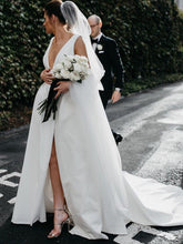 Load image into Gallery viewer, Stunning V-Neck Satin Straps Ivory Wedding Dresses A-line Bridal Gowns with Pockets V Back W1102
