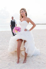 Load image into Gallery viewer, Sweetheart Ivory Ruffled High Low Organza Corset Bridal Gowns Long Wedding Dresses RS944