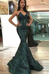 Sweetheart Mermaid Green Long Prom Dresses Strapless Sleeveless Evening Dresses RS471