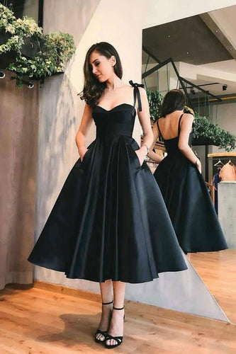 Sweetheart Satin Tea Length Spaghetti Straps Short Prom Dresses Homecoming Dresses H1179
