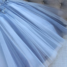 Load image into Gallery viewer, Sweetheart Strapless Homecoming Dresses Beads Blue Lace up Tulle Short Prom Dresses H1066