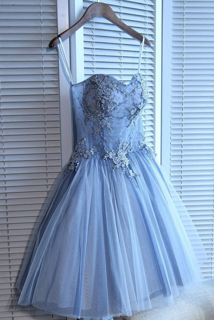 Sweetheart Strapless Homecoming Dresses Beads Blue Lace up Tulle Short Prom Dresses H1066