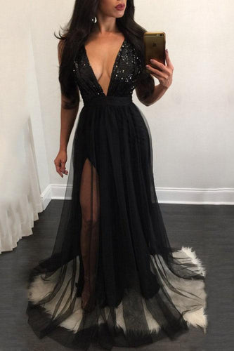 Elegant A Line Sequins Black Tulle V Neck Mesh Patchwork Pleated Maxi Prom Dresses RS629