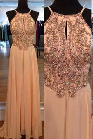 A-line Spaghetti Straps Sleeveless Backless Chiffon Long Orange Halter Beads Prom Dresses RS06