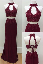 Load image into Gallery viewer, Mermaid Two Piece Burgundy Modest Long Halter Open Back Beads Prom Dresses RS186