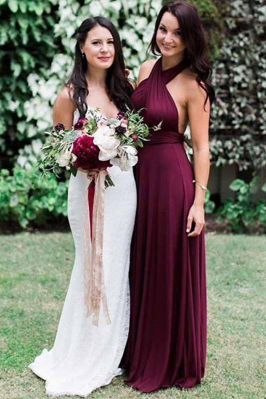 Charming Burgundy A-Line Halter Backless Maroon Chiffon Bridesmaid Dress with Sash RS16
