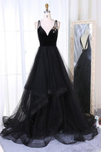 Load image into Gallery viewer, New Arrival A-Line V-Neck Black Velvet Up Tulle Backless Sleeveless Long Prom Dresses RS333