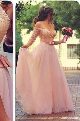 Off Shoulder Half Sleeves Pink Long Party Sweetheart Sash Bow Beads Pearls Prom Dresses RS720