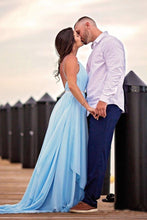 Load image into Gallery viewer, Thigh Split Sky Blue Rustic Wedding Dresses Beach Wedding Gown with Court Train W1016