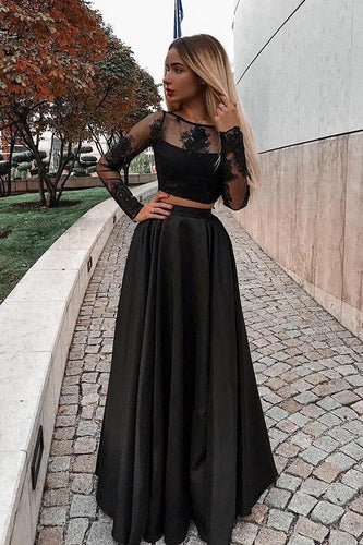 Two Piece Black Long Sleeve Scoop Jewel Appliques Prom Dresses with Satin RS683
