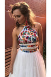 Two Pieces Embroidery Prom Dresses Unique Halter Open Back Formal Dress with Tulle P1041