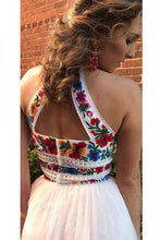 Load image into Gallery viewer, Two Pieces Embroidery Prom Dresses Unique Halter Open Back Formal Dress with Tulle P1041