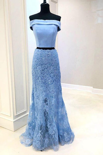 Two Pieces Mermaid Lace Appliques Off the Shoulder Tulle Prom Dresses with Beads P1030