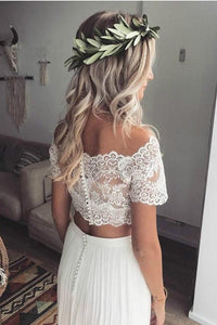 Two Pieces Short Sleeve Off the Shoulder Ivory Lace Beach Wedding Dresses with Chiffon W1023
