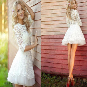 2019 Popular Half Sleeve Lace See Through Cute Homecoming Short Prom Dress RS86