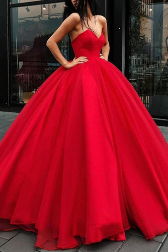 Unique Ball Gown Red Strapless Sweetheart Long Prom Dresses Quinceanera Dresses P1124