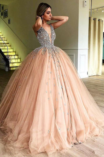 Unique Ball Gown V Neck Sleeveless Beading Tulle Prom Dresses Quinceanera Dress RS989