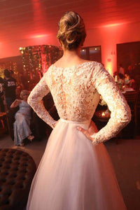 Unique Bateau Lace and Tulle Wedding Dresses Long Sleeves Bridal Dresses RS656