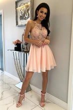 Load image into Gallery viewer, Unique Halter Chiffon Criss Cross Beads Short Sweet 16 Dresses Homecoming Dresses H1255