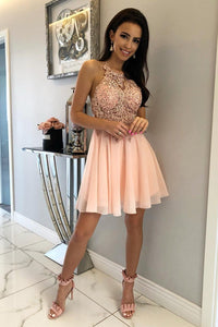 Unique Halter Chiffon Criss Cross Beads Short Sweet 16 Dresses Homecoming Dresses H1255
