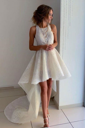 Unique Ivory Halter High Low Homecoming Dresses with Lace Short Prom Dresses H1095