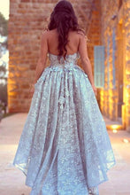 Load image into Gallery viewer, Unique Lace Sweetheart High Low Ball Gown Prom Dresses For Teens Graduation Dresses H1231
