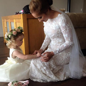 Unique Long Sleeve Mermaid Lace Wedding Dresses with Beads Wedding Gowns RS828