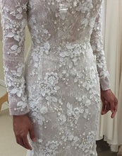 Load image into Gallery viewer, Unique Long Sleeve Mermaid Lace Wedding Dresses with Beads Wedding Gowns RS828