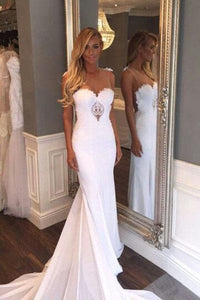 Unique Mermaid Sheer Neck Wedding Dresses with Lace Unique Ivory Bridal Dresses RS920