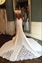 Load image into Gallery viewer, Unique Mermaid Sheer Neck Wedding Dresses with Lace Unique Ivory Bridal Dresses RS920