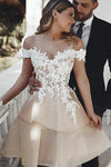 Unique Off the Shoulder Appliques Sweetheart Homecoming Dresses Short Dance Dresses H1346