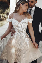 Load image into Gallery viewer, Unique Off the Shoulder Appliques Sweetheart Homecoming Dresses Short Dance Dresses H1346
