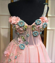 Load image into Gallery viewer, Unique One Shoulder Pink Prom Dresses Appliques Sweetheart Long Party Dresses RS568
