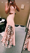 Unique Pink Lace Satin Mermaid Long Prom Dresses V Neck Cheap Evening Dresses RS673