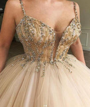 Load image into Gallery viewer, Unique Spaghetti Straps V Neck Beads Ball Gown Tulle Prom Dresses Quinceanera Dresses P1112