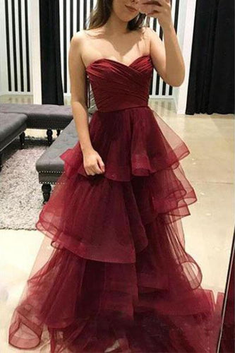 Unique Sweetheart Burgundy Ruffles Organza Layered Skirt Prom Dresses RS439