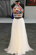 Load image into Gallery viewer, Unique Two Pieces Embroidery High Neck Open Back Tulle Prom Dresses Evening Dresses P1028