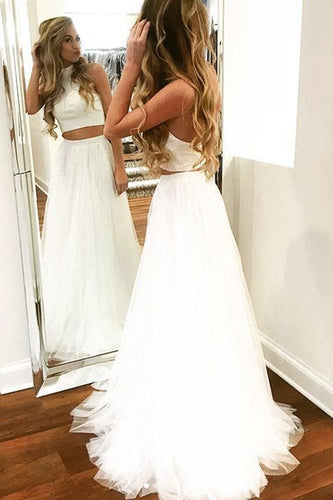 Unique Two Pieces White Halter Tulle Prom Dresses Long Cheap Dance Dresses RS711